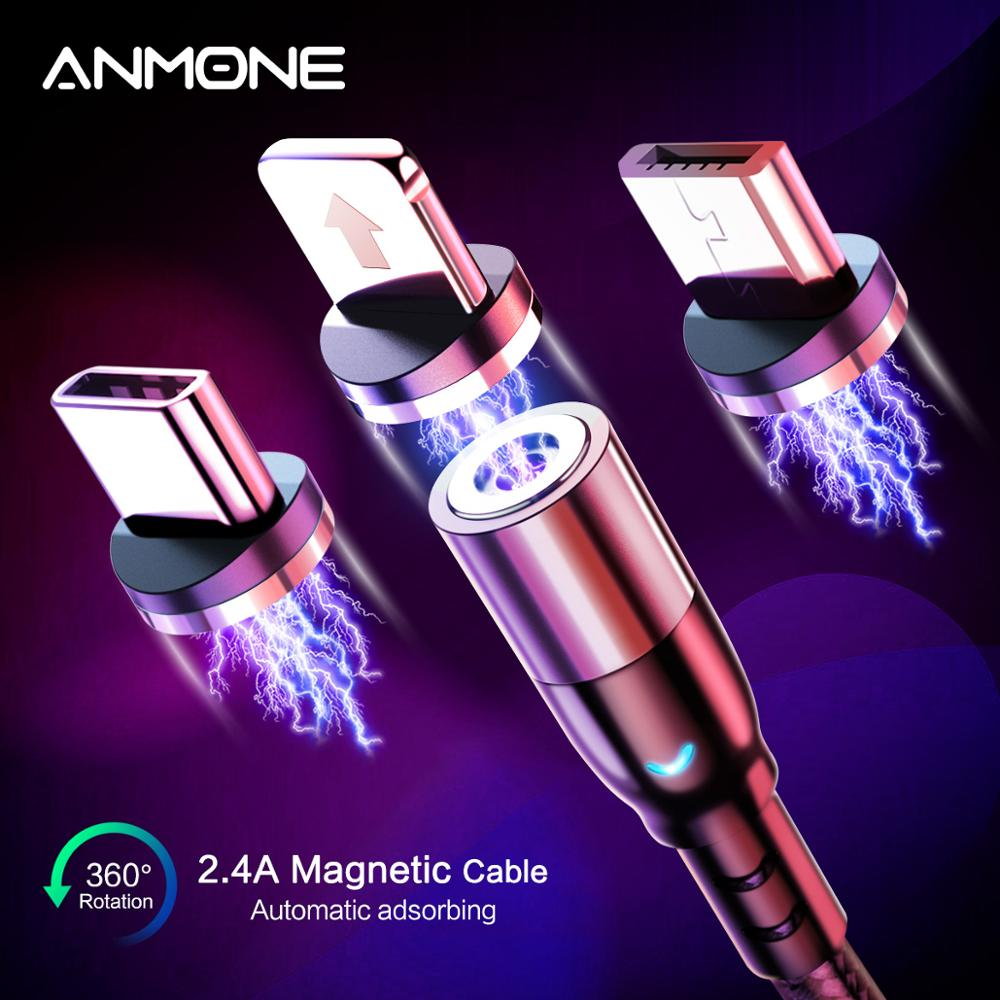 ANMONE Magnetic Charge USB Type C Micro USB Cable Fast Charging Wire For iPhone Samsung Huawei xiaomi redmi note7 Magnet Charger