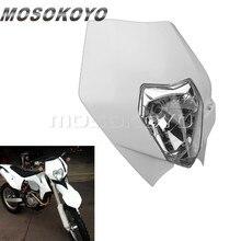 Branco mx bicicleta da sujeira 12v 35w enduro cabeça luz para exc xc scf yamaha wr ttr 250r 250l 450f personalizado farol carenagem