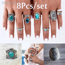 X-ROYAL 8Pcs/set Vintage Boho Style Antique Silver Female Fashion Finger Rings Elegant Carving Gem Women Alloy Knuckle