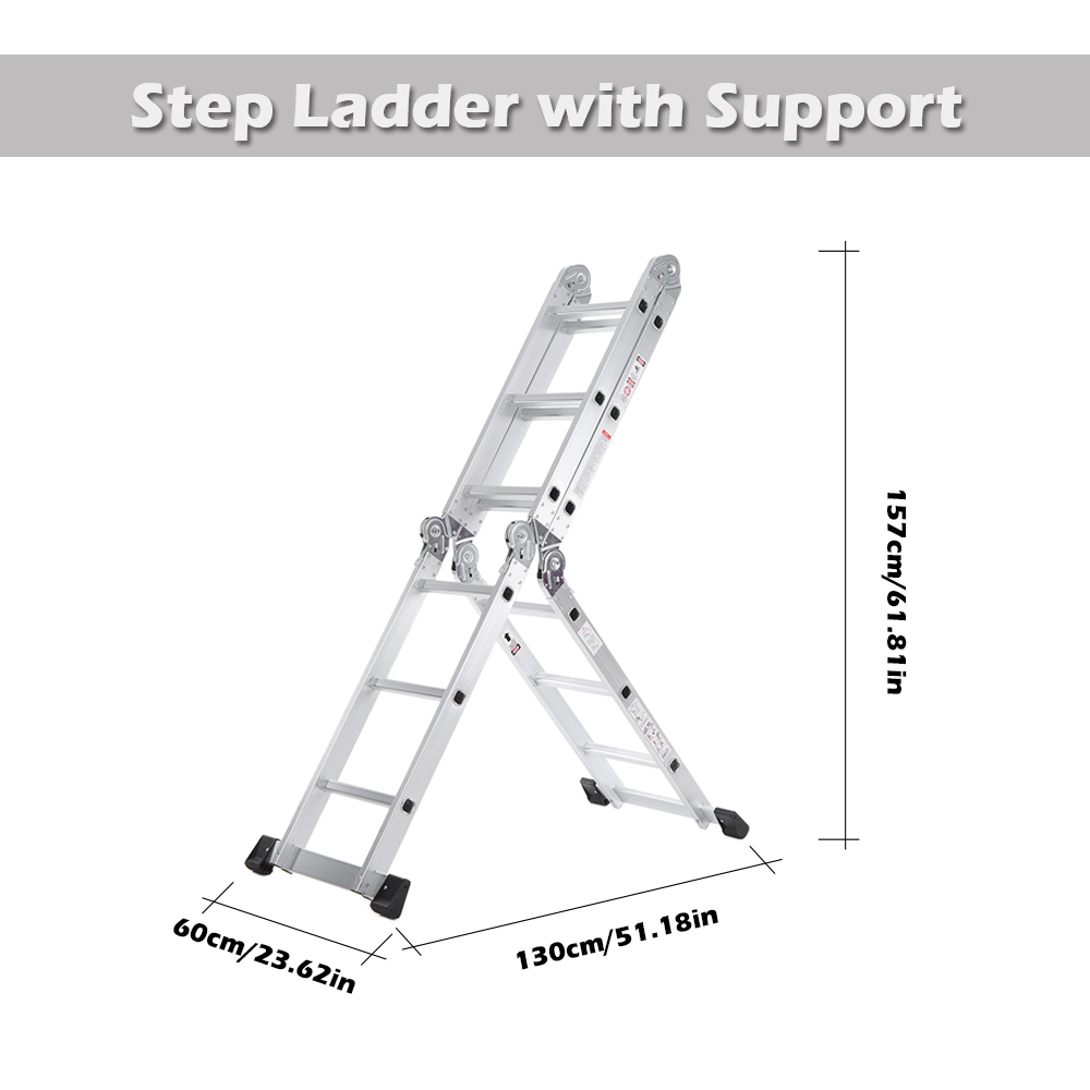 New 7 In 1 Multi Purpose Step Ladder Aluminum Folding Telescoping Ladder Work Platform Scaffold With Locking Hinge
