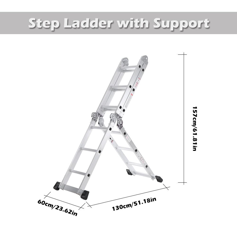 New 7 In 1 Multi Purpose Step Ladder Aluminum Folding Telescoping Ladder Work Platform Scaffold With Locking Hinge