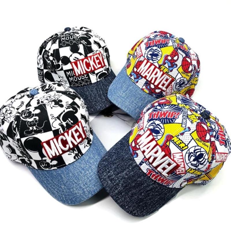 Fashion Cartoon Kids Hat Boy And Girl Baseball Caps Cute Mouse Mickey Spiderman Baseball Cap Baby Travel Hats