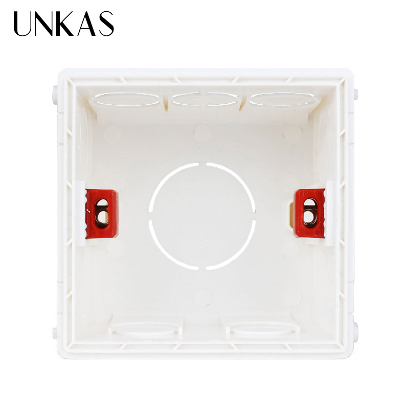 UNKAS New Desigh PVC Plastic Adjustable Mounting Box Internal Cassette 86*83*50 For 86 Type Switch And Socket