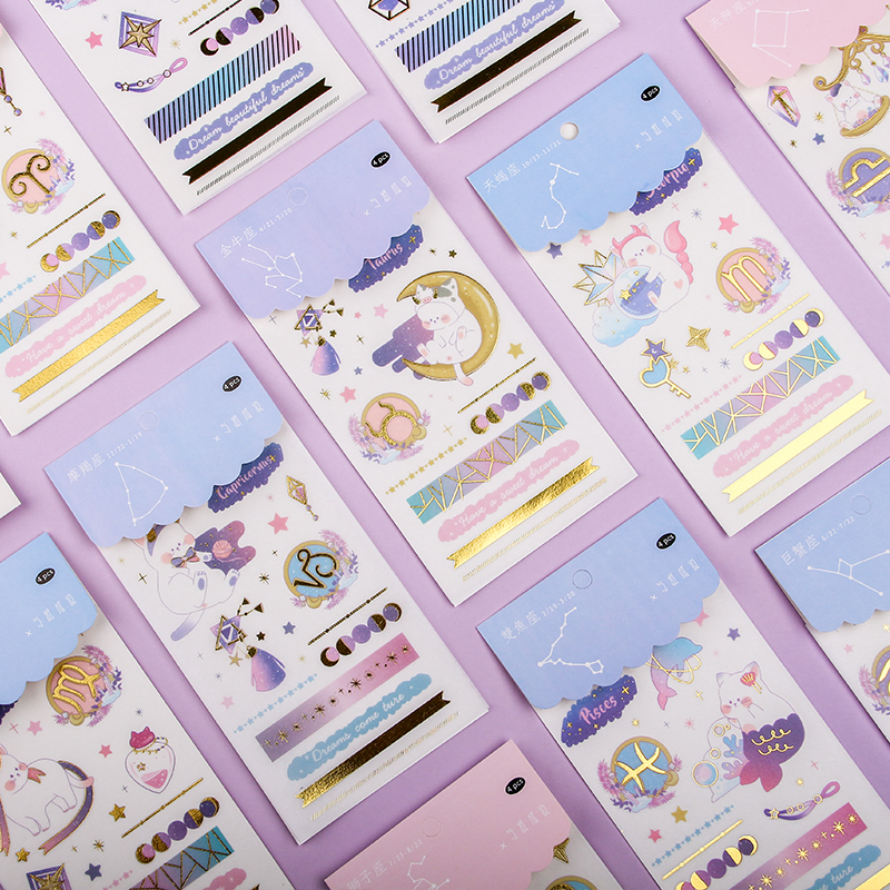Kawaii Sticker 12 Constellation Series Stickers DIY Scrapbooking Planner Decorative Stickers Stationery School Supply