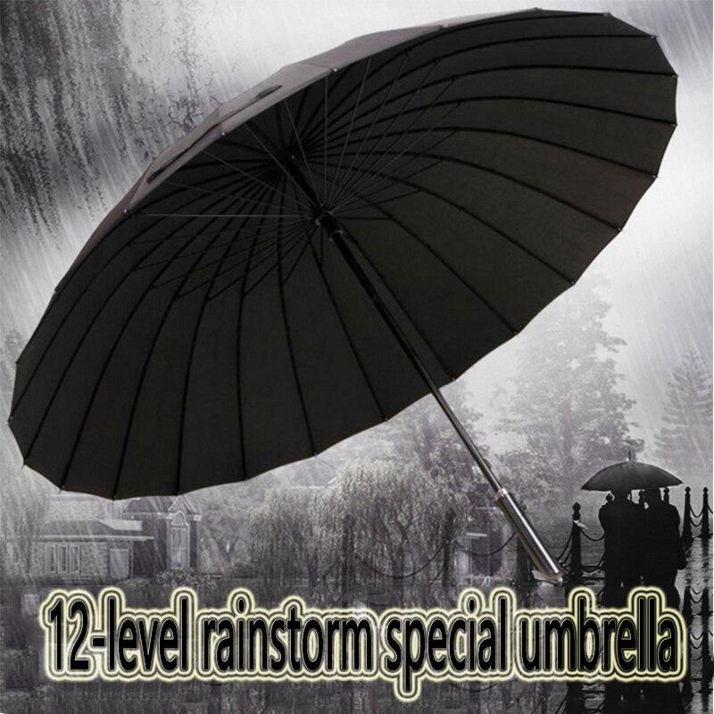 Oversized Men's Outdoor Strong Weatherproof Umbrella Ladies 24K Leather Golf Sunscreen Umbrella Men's Gift Long Handle Umbrella