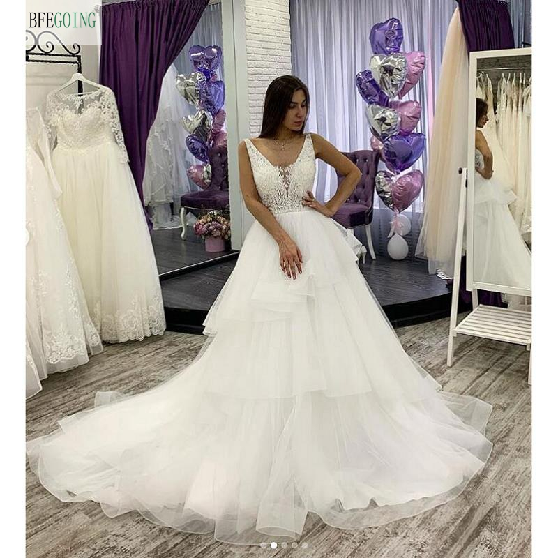 White Tulle Lace V-Neck Sleeveless Floor-length A-line Wedding Dress Chapel Train Bridal Gown  Custom Made