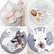 Cartoon Animals Baby Play Mats Pad Toddler Kids Crawling Blanket Round Carpet Rug Toys Mat For Children Room Decor Photo Props(China)
