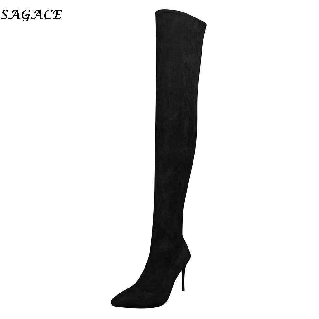 SAGACE diz üzerinde çizmeler bayan sonbahar kış kadın streç ince uyluk yüksek çizmeler seksi ince yüksek topuklu ayakkabılar kadın sapatos mulher