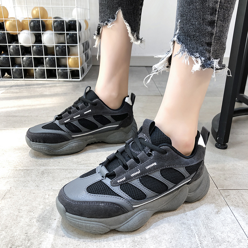 Spring Summer New Mesh Breathable Flat Platform Shock Absorption Lightweight Fashion Korean Casual Chic Black Women's Dad Shoes