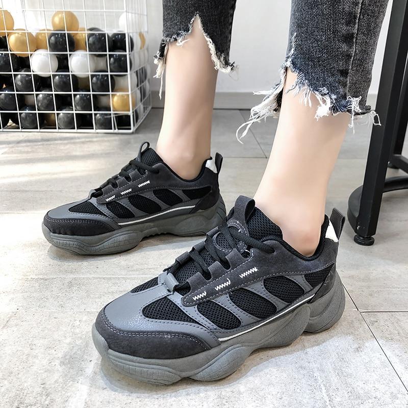 Spring Summer New Mesh Breathable Flat Platform Shock Absorption Lightweight Fashion Korean Casual Chic Black Women's Dad Shoes