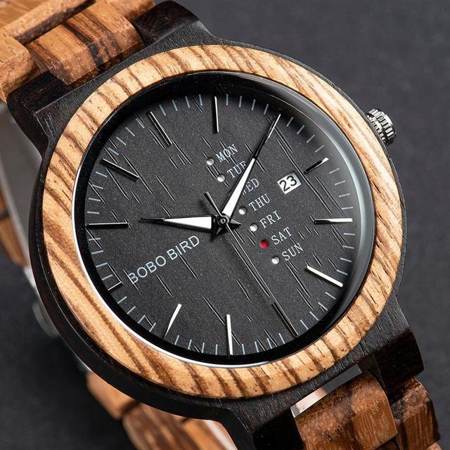 Bobo Vogel Mannen Horloge Automatische Datum Week Display Hout Horloges Mannelijke Uurwerken Quartz Horloges Relogio Masculino Gift