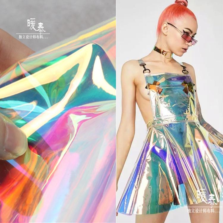 Bag Raincoat Fluorescent-Fabric Crystal TPU Fabric-Perspectivity Colorful Designer Waterproof