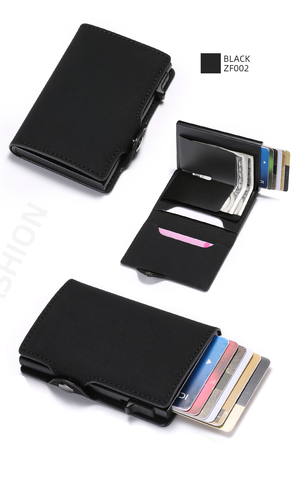 Hcd238ce7f2d4489cb1acd4e79bb29666R - BISI GORO Single Box Card Holder PU Leather Card Wallet New Men RFID Blocking Aluminum Smart Multifunction Slim Wallet Card Case