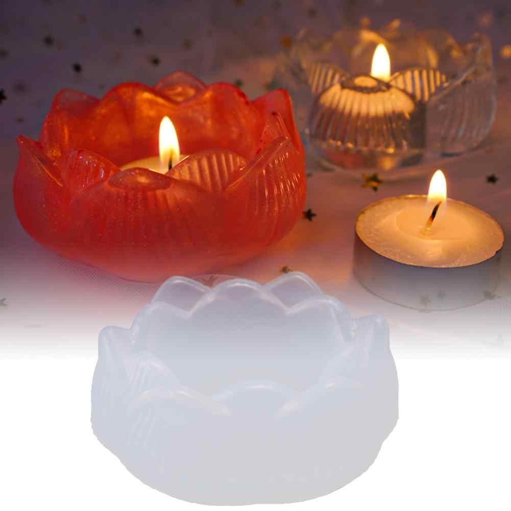 Umisu R/ésine Moule en Forme de Lotus Bougie en Silicone Plateau de Rangement Plateau de Moule de Support de Bougie D/écoration pour Maison