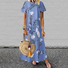Vestido de las mujeres de manga corta estampado Floral largo Maxi vestido O cuello Casual playa traje