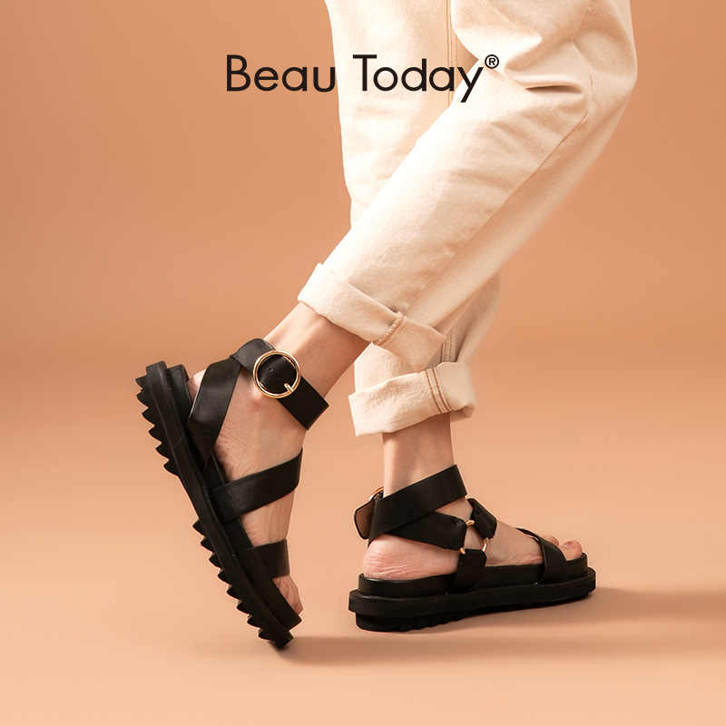 BeauToday Sandalen Frauen Schaffell Echtes Leder Ankle Strap Metall Ring Schnalle Dame Sommer Plattform Schuhe Handgemachte 38123