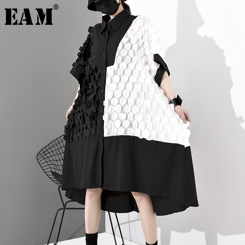 [EAM] Women Contrast Color Patch Big Size Shirt Dress New Lapel  Long Sleeve Loose Fit Fashion Tide Spring Autumn 2020 1S039