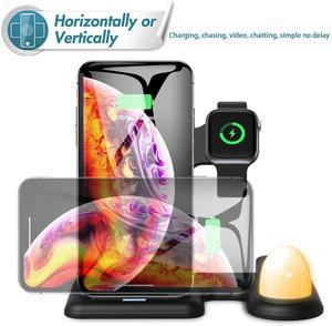 Image 2 - Беспроводное зарядное устройство DCAE 4 в 1, зарядная станция, светодиод Qi Fast 15 Вт для iPhone 11 Pro Max XS XR X 8 Airpods, Apple Watch 5 4 3 2