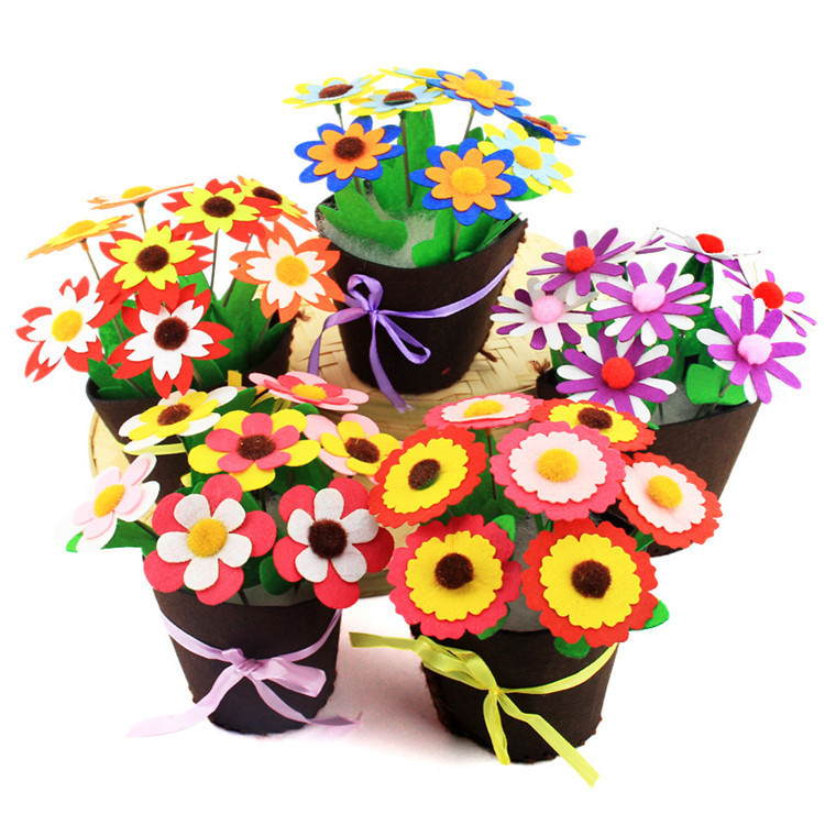 Flower Pot Crafts Toys For Children Kids DIY Potted Plant Kindergarten Learning Education Toys Montessori Teaching Aids Toy 2019