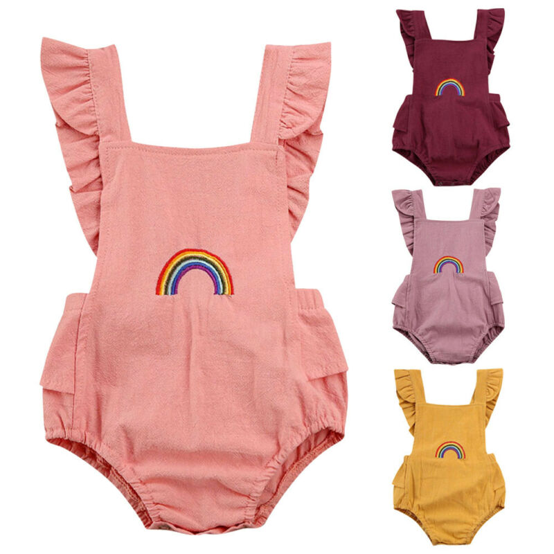 Newborn Baby Girl Romper With Rainbow