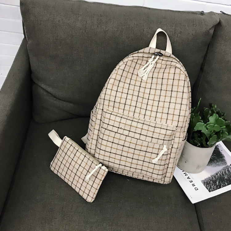 Image 4 - 2 Pieces Japan style Plaid Style Women Backpack Pencil Case Student Girl School Bag Travel Shoulder Bag For Women 2019 Bagpack-in Backpacks from Luggage & Bags