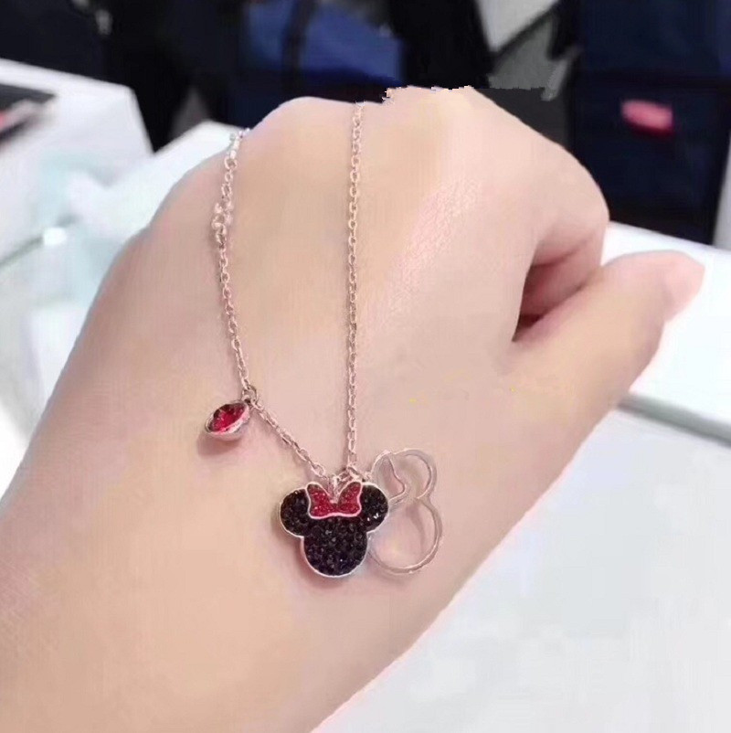 Disney Mickey mouse Cartoon Lady silver Necklace women fashion Sweater accessories gift jewelry lovely Minnie chain