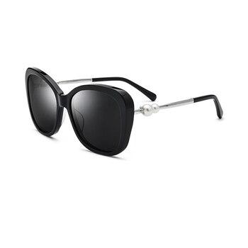 Mode Frauen Polarisierte Sonnenbrille 2 Farben Schwarz/Braun UV400 Driving Gläser Für frauen Mit Perle