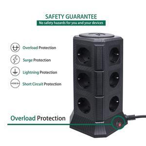 Image 4 - Tessan eu power strip torre com 5 portas usb + 12 soquetes 2m/6.5ft cabo de extensão protetor de sobrecarga para o interruptor eu plug