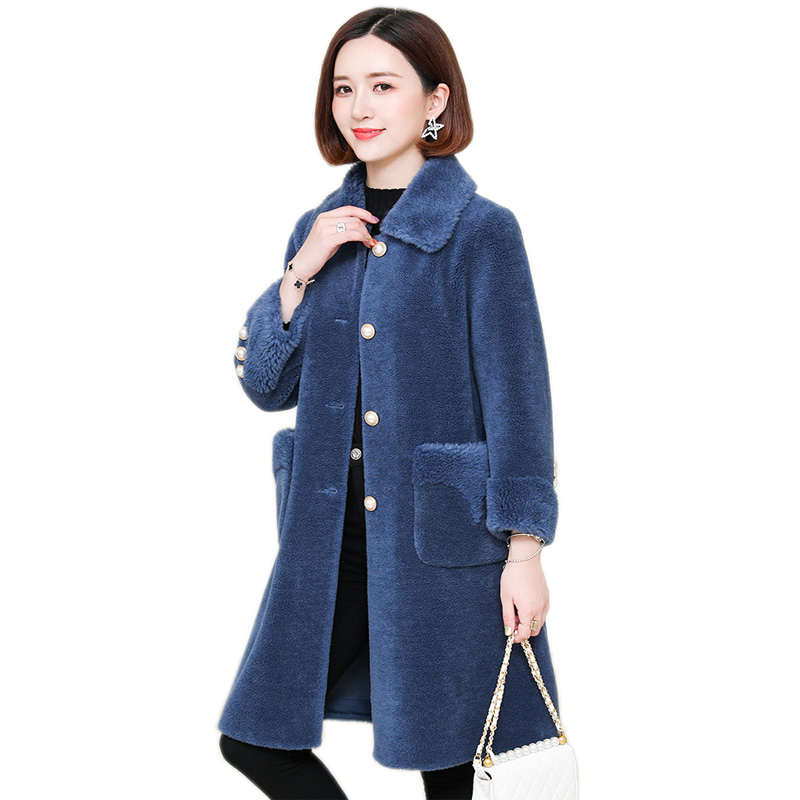 2019 natural Sheep Fur Coat Wool Coat Winter Jacket Women Casual Parka X-Long Overcoat With button