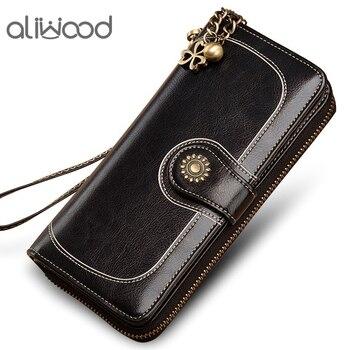 Aliwood Vintage Women Wallet Clutch Quality Leather New Female Long Wallet Retro Women Zipper Purse Designer Strap Coin Purse