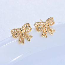 6PCS 11x10MM 24K Gold Color Brass Butterfly bow Stud Earrings High Quality Diy Jewelry Findings Accessories(China)