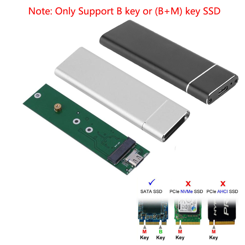 M.2 SSD Case USB 3.1 TO M.2 NGFF SSD Enclosure Solid State Drive External Case Adapter UASP SuperSpeed for 2242 2260 2280 M2 SSD 3