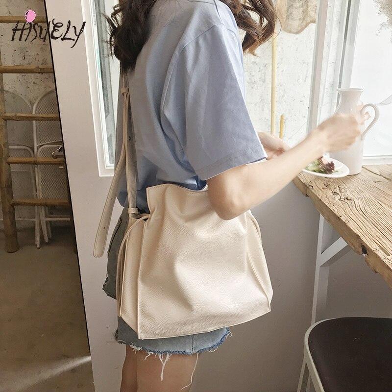 HISUELY 2020 New Korean Simple Pu Women's Bag Fashion Leisure Solid Color Bucket Shoulder Bags Messenger Bag High Quality BG523