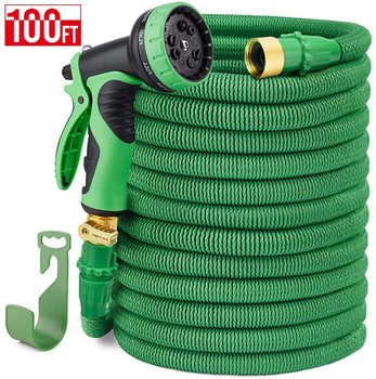 """House day 100FT Expandable Garden Hose Water Hose 9-Function High-Pressure Spray Nozzle Green Flexible Hose 3/4"""" Solid Brass"""