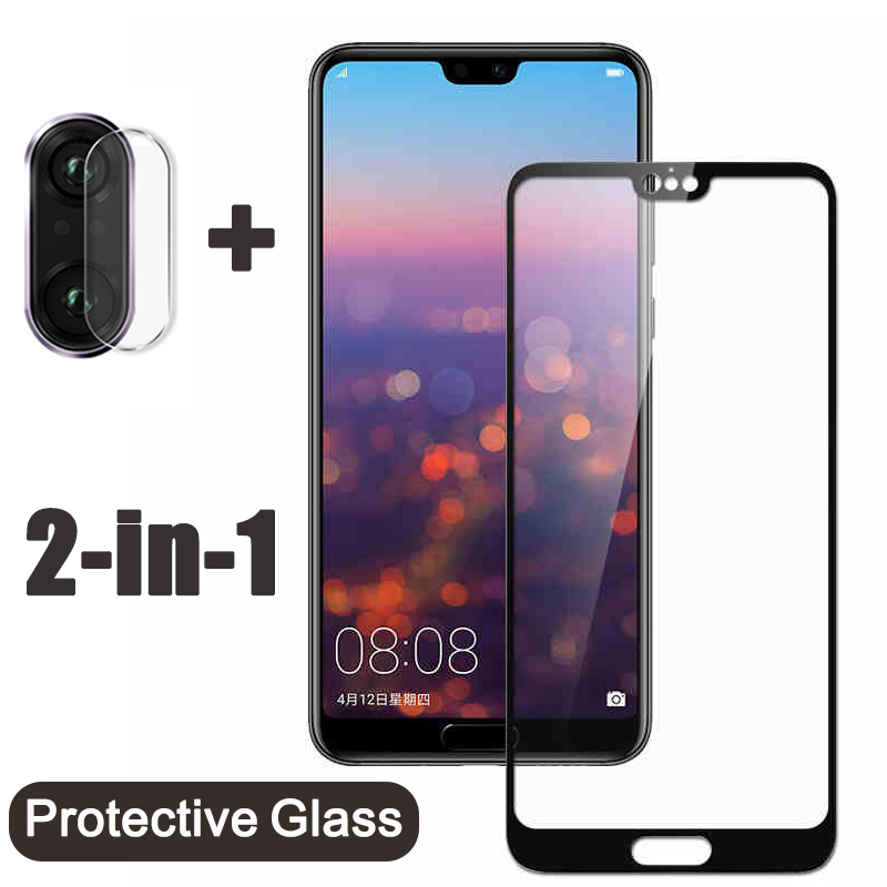 2 in 1 Protective Tempered <font><b>Glass</b></font> On For <font><b>Huawei</b></font> P30 <font><b>P20</b></font> Mate 20 lite honor 10 <font><b>light</b></font> pro p smart plus Camera Lens Protector <font><b>Glass</b></font> image