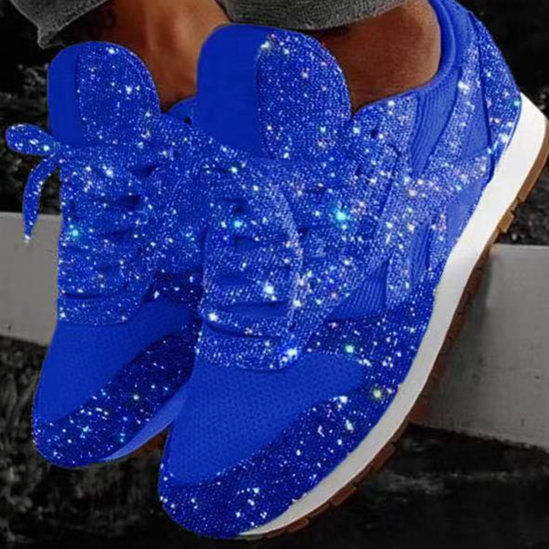 Plus Size Woman Sneakers Shining Glitter Autumn Shoes Woman Platform Trainers Ladies Silver Shoes Tenis Feminino Red Blue Black