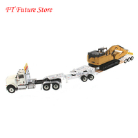 In Stock Collectible 1/50 DM 85600 International HX520 Tractor +Lowboy Trailer+ 349F LXE Excavator Model for Fans Gifts