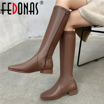 FEDONAS Classic High Boots Women Autumn Winter Warm Party Basic Shoes Woman Newest Square Toe Side Zipper Knee High Boots