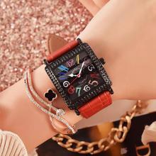 Hot sale colorful Arabic word womans watch square black 38MM diamond leather strap pin buckle quartz woman