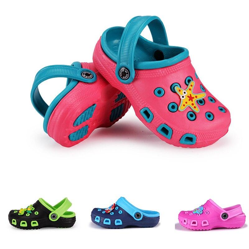 Cartoon Kids Slippers Boy Hole Shoe Baby Cute Beach Shoes Child Boy Girl Antiskid Sandal Spring Summer Toddler Slipper Ins Style