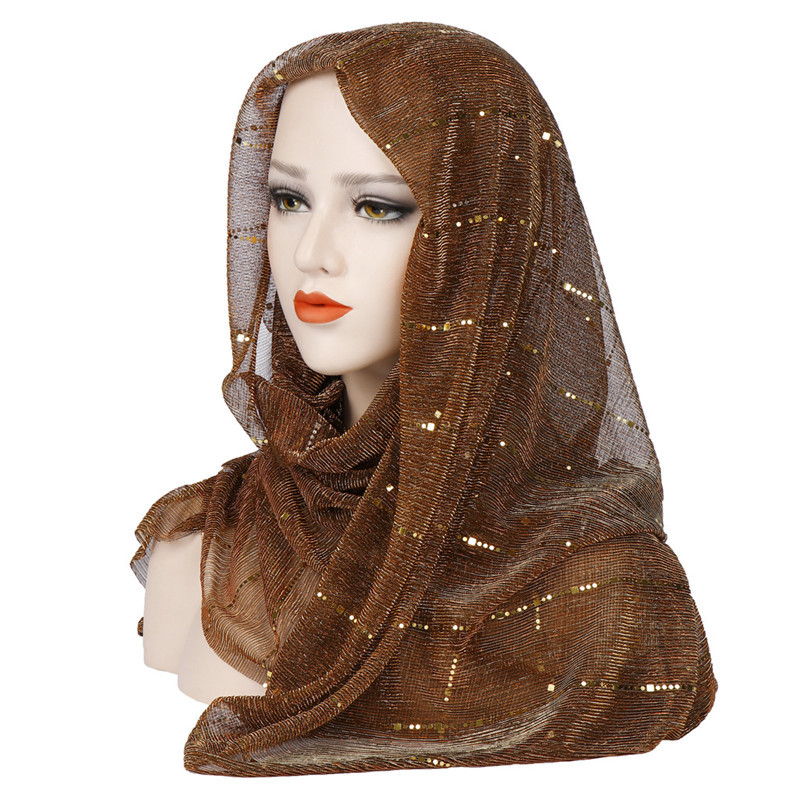 Summer Thin Muslim Scarf For Women Hijab Solid Sequin Headscarf Islamic Foulard Femme Musulman Shawls And Wraps Kopftuch