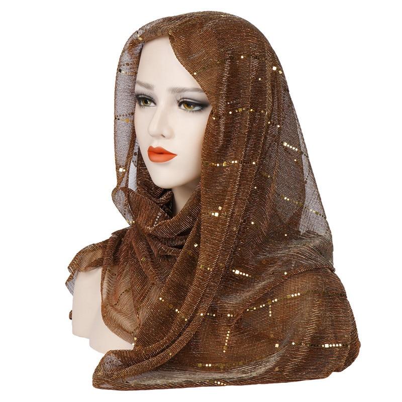 Summer Thin Muslim Scarf For Women Hijab Solid Sequin Headscarf Islamic Foulard Femme Musulman Shawls And Wraps Kopftuch