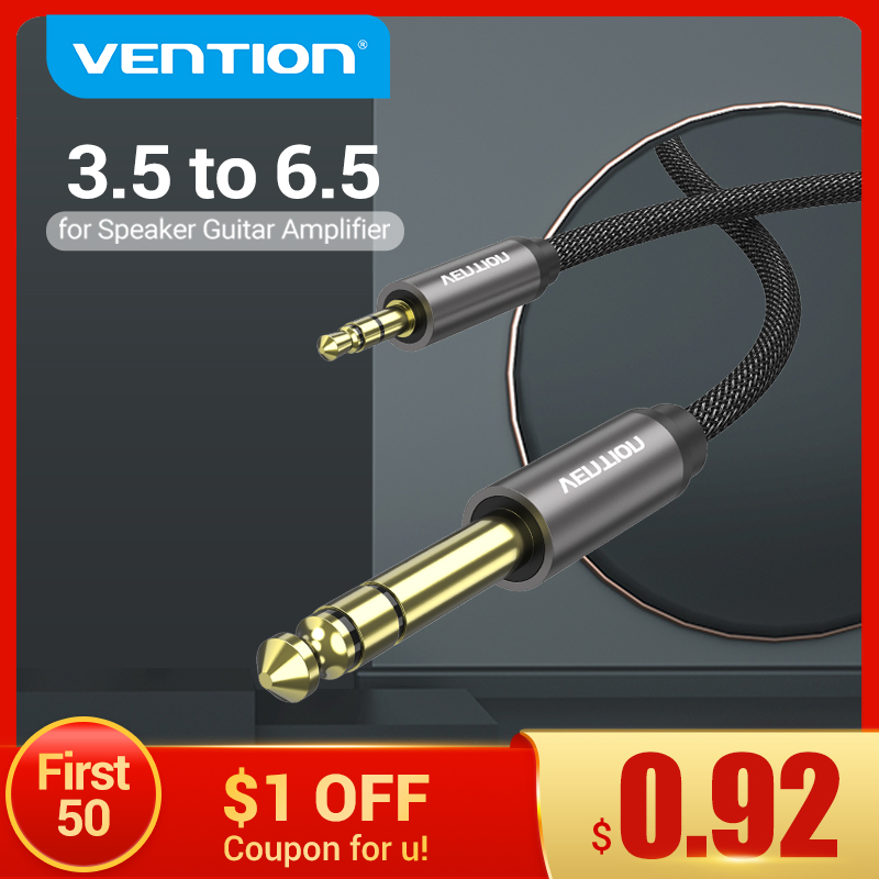 Vention 6.5 to 3.5 Jack Aux Cable Adapter for Speaker Guitar Amplifier TRS Audio Cable Jack 3.5mm to 6.5mm Audio Cable Auxiliar
