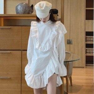 Женское платье миди SuperAen, однотонное свободное платье с асимметричными оборками и рукавами-фонариками для похудения