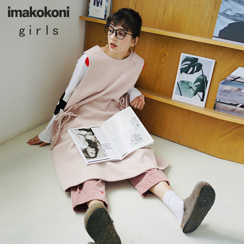 imakokoni original sleeveless woolen dress female autumn and winter long loose vest skirt