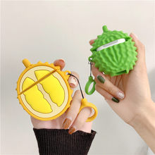 цена на Durian Fruit Wireless Bluetooth Earphone Case For Apple Airpods Silicone Headphones Cases For Airpods 2 Protective Cover