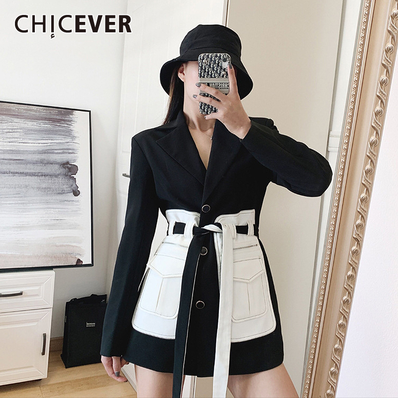 CHICEVER Korean Patchwork Hit Color Jacket Female Notched Long Sleeve Pocket Lace Up Large Size Women Suits Fashion Clothes 2020