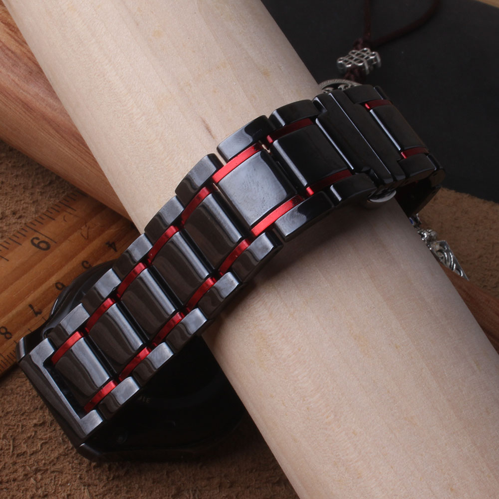 New Fashion polish Black with red Ceramic Watchband For samsung gear S3 band 22mm watch strap huawei watch gt galaxy watch 46mm