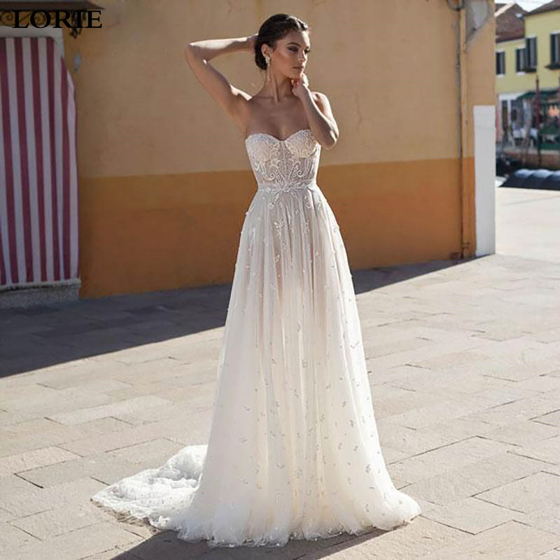 LORIE Lace A Line Wedding Dress 2019 Vestidos De Novia Sweetheart Neck Lace Sexy Bridal  Dresses Elegant Backless Wedding Gowns