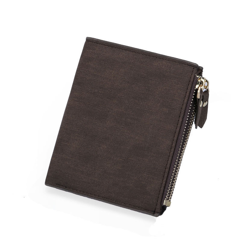 New Men Wallet Brand Leather Wallet Double Zipper Design Fashion Small Wallet Male RFID BLOCKING Short Card Holder Coin Purse in Card ID Holders from Luggage Bags